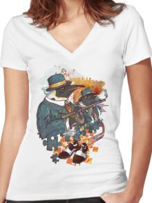 Mobster Puzzle Women's Fitted V-Neck T-Shirt