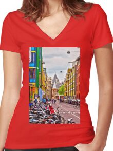 Streets of Amsterdam Women's Fitted V-Neck T-Shirt