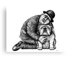 Man and Bulldog pen ink black and white drawing Canvas Print
