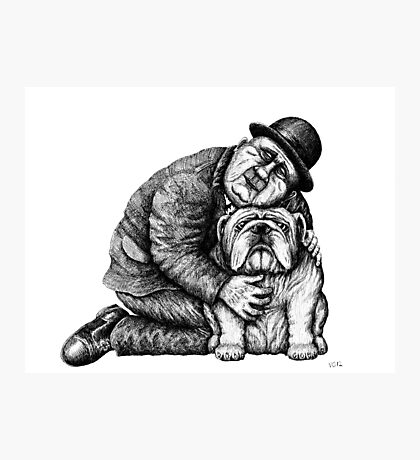 Man and Bulldog pen ink black and white drawing Photographic Print