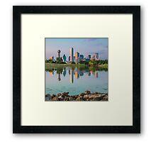 Dallas Skyline Reflection on Trinity Shore Framed Print