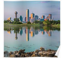 Dallas Skyline Reflection on Trinity Shore Poster
