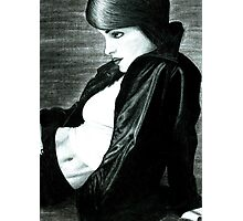 Girl with a black leather jacket Photographic Print