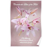 'Consider the Lilies of the Field'   With Text Poster