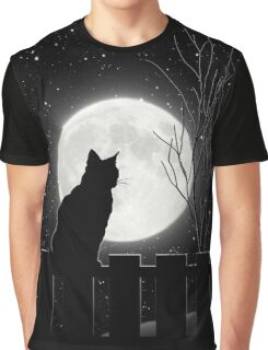 Moon Bath II, cat full moon winter night Graphic T-Shirt