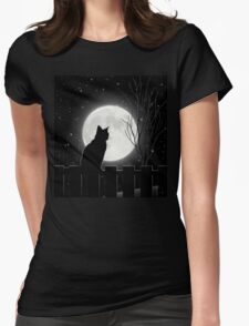Moon Bath II, cat full moon winter night Womens Fitted T-Shirt