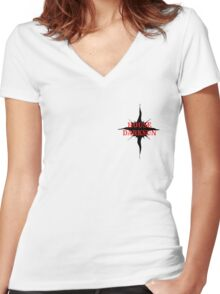 Red on Black S Women's Fitted V-Neck T-Shirt