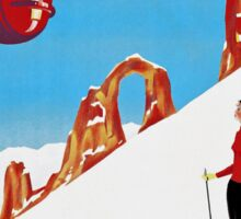 She Skis Alone, Vintage ski sport poster art Sticker