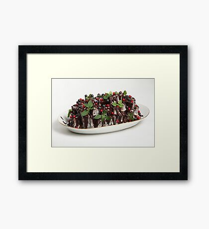 Chocolate cake with fresh berries Framed Print