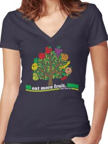 Eat More Fruit Women's Fitted V-Neck T-Shirt