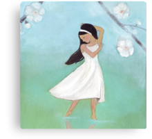 Dancing girl with blossoms and reflections Canvas Print