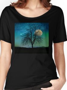 Solitude, Harvest Moon shooting star blue-green sky Women's Relaxed Fit T-Shirt