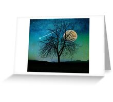 Solitude, Harvest Moon shooting star blue-green sky Greeting Card