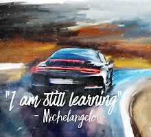 Michelangelo quote Sportcar oil paints nature by Pagarelov