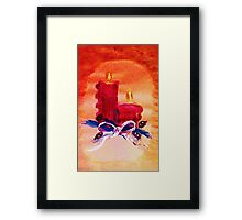 #1 Christmas card ,red candles,  watercolor Framed Print