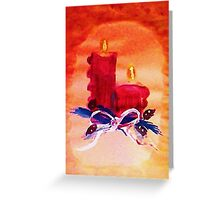 #1 Christmas card ,red candles,  watercolor Greeting Card