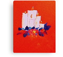 #2 Christmas card ,white grouping candles,  watercolor Canvas Print