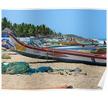 Beach Boats Colorful Sea Water Wave Poster