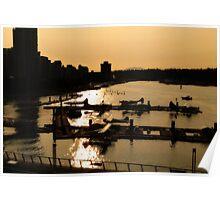 Sunset Harbour Floatplanes Evening Poster