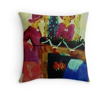 We are ready for Christmas, watercolor Throw Pillow
