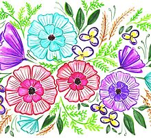 Watercolor Bright Spring Bouquet - Landscape by rubyandpearl