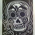 Live, Sugar Skull, Linocut, Suzi Linden by Suzi Linden