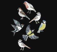 Illustrated Birds One Piece - Short Sleeve