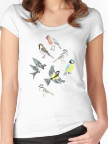 Illustrated Birds Women's Fitted Scoop T-Shirt