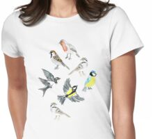 Illustrated Birds Womens Fitted T-Shirt