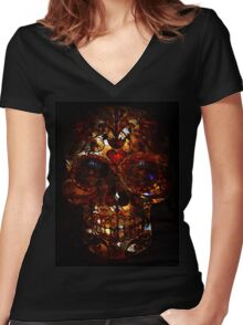 Day of the Dead Death Mask Women's Fitted V-Neck T-Shirt
