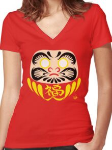 Daruma (blank) Women's Fitted V-Neck T-Shirt