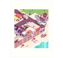Isometric Beach City Art Print