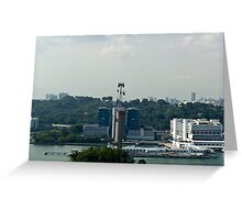 View of cable car and skyline from the Tiger Sky tower in Sentosa in Singapore Greeting Card