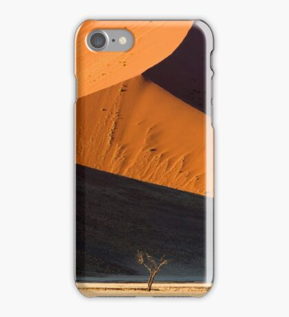 Lone tree at dawn in the Namibian dunes iPhone Case/Skin