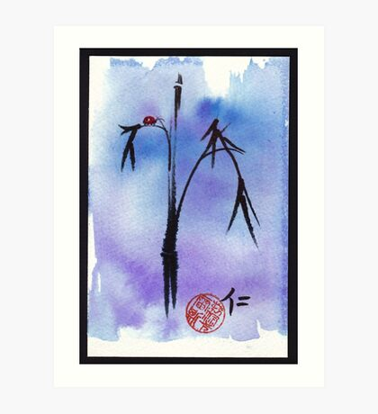 """Kindness"" - watercolor & ink brush pen mixed media painting ladybug & bamboo Art Print"