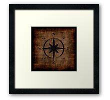 Nostalgic Old Compass Rose Design Framed Print