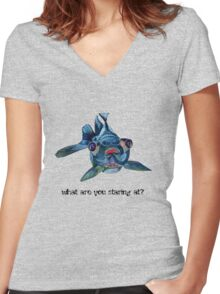 What Are You Staring At? Women's Fitted V-Neck T-Shirt