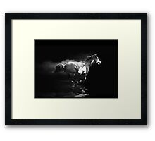 Galloping Pinto Horse and Smoke Framed Print