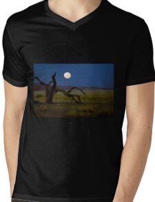 Moon set in the desert.  Mens V-Neck T-Shirt