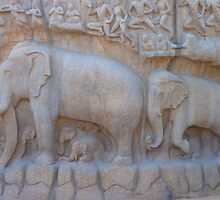 Elephant Relief Descent Of The Ganga by HQPhotos