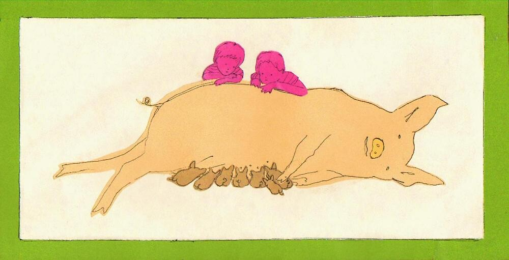 Pig and Piglets by Melissa D'Orazio