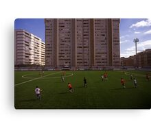 football stadium at Carrer de les Camèlies, Barcelona 2010 Canvas Print