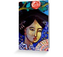 Lady Beneath Rose Greeting Card