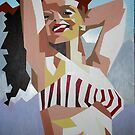 Marilyn Monroe In Red and White Striped Bikini by taiche