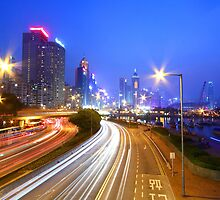 Traffic in Hong Kong downtown area by kawing921