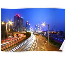 Traffic in Hong Kong downtown area Poster