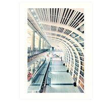 Corridor in airport Art Print