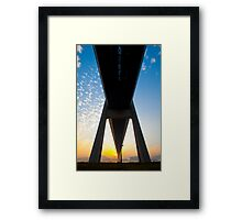 Tsing Ma Bridge in Hong Kong at sunset time Framed Print