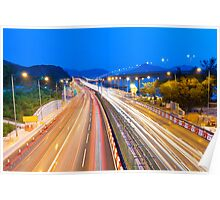 Majestic highway traffic in Hong Kong at night Poster