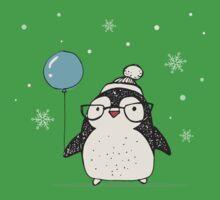 Christmas Penguin Balloon Kids Tee